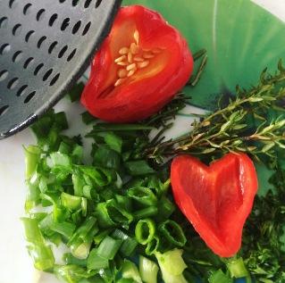 fresh herbs & red pepper