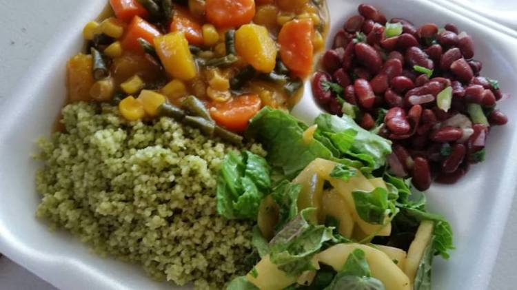 Pesto Couscous, Assorted Vegetable Stew, Red Bean Salad, Toss Salad