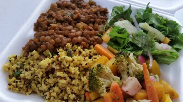 Seasoned Millet and Quinoa Pilaf, Persian Lentil Stew, Garden Salad with Assorted Seasoned Steamed Vegetables